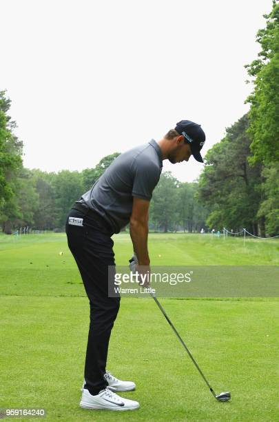 Thomas Pieters of Belgium tees off on the third hole as he plays in the pro am ahead of the Belgian Knockout at the Rinkven International GC on May...