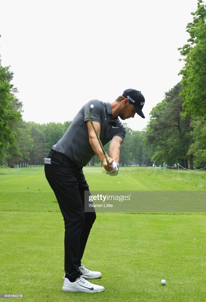 Thomas Pieters of Belgium tees off on the third hole as he plays in the pro am ahead of the Belgian Knockout at the Rinkven International GC on May 16, 2018 in Antwerpen, Belgium