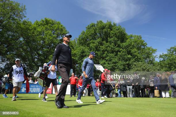 Thomas Pieters of Belgium walks down the fairway after taking his shot off the 1st tee during the first round of the Belgian Knockout at the Rinkven...