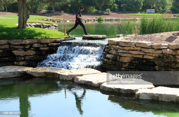 Thomas Pieters of Belgium walks off the 6th green during day one of the DP World Tour Championship at Jumeirah Golf Estates on November 15, 2018 in...
