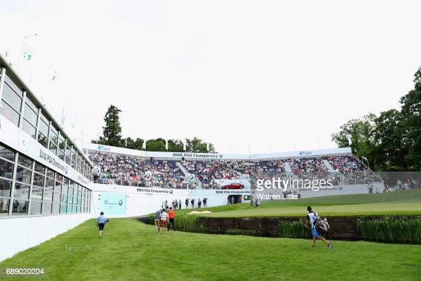 Thomas Pieters of Belgium walks to the 18th green during day three of the BMW PGA Championship at Wentworth on May 27 2017 in Virginia Water England