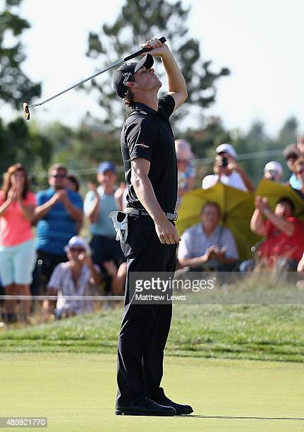 Thomas Pieters of Belguim celebrates after making his putt on the 18th to win the DD Real Czech Masters at the Albatross Golf Resort on August 30...