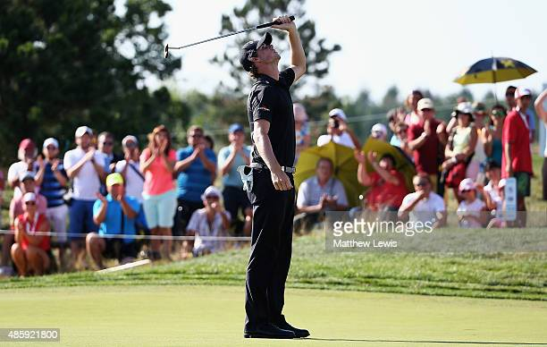 Thomas Pieters of Belguim celebrates after making his putt on the 18th to win the D+D Real Czech Masters at the Albatross Golf Resort on August 30,...