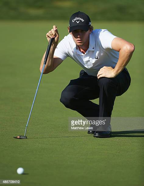 Thomas Pieters of Belguim lines up a putt on the 17th green during day three of the DD Real Czech Masters at Albatross Golf Resort on August 29 2015...