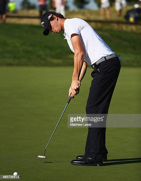 Thomas Pieters of Belguim makes a putt on the 17th green during day three of the DD Real Czech Masters at Albatross Golf Resort on August 29 2015 in...
