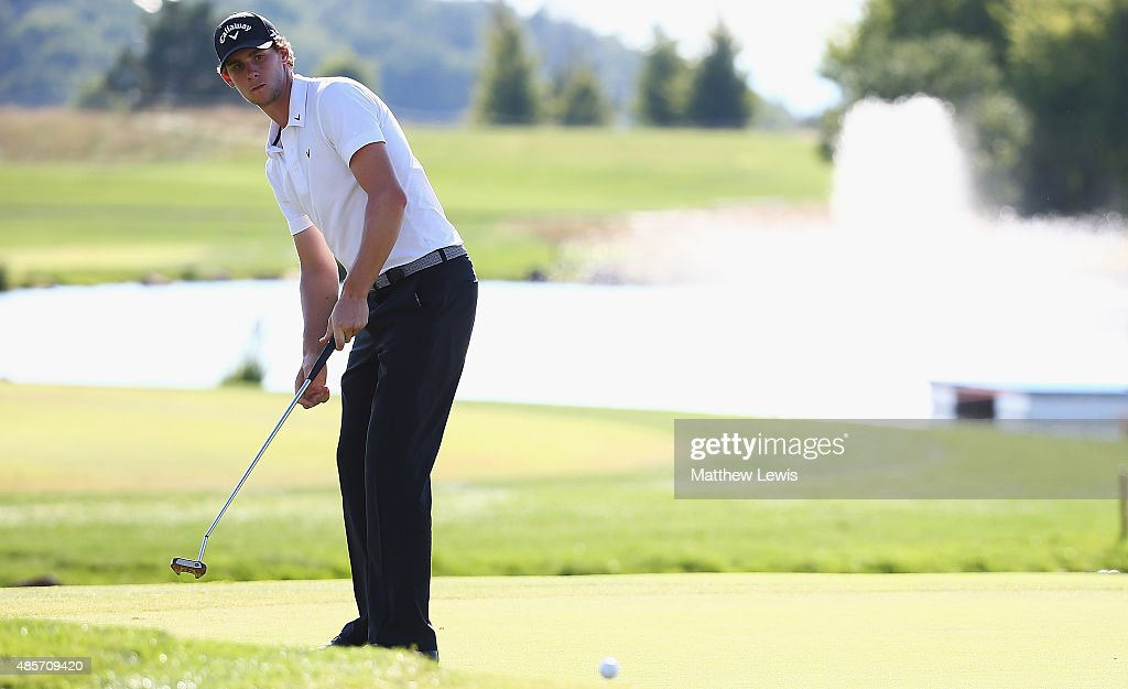 Thomas Pieters of Belguim makes a putt on the 18th green during day three of the D+D Real Czech Masters at Albatross Golf Resort on August 29, 2015 in Prague, Czech Republic.