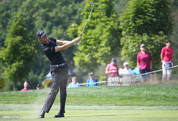 Thomas Pieters of Belguim plays a shot from the 4th fairway during day four of the DD Real Czech Masters at the Albatross Golf Resort on August 30...