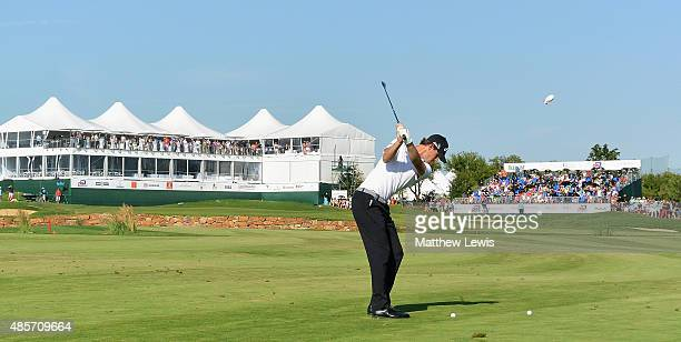 Thomas Pieters of Belguim plays his second shot from the 18th fairway during day three of the DD Real Czech Masters at Albatross Golf Resort on...