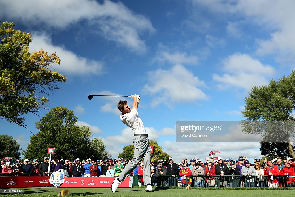 Thomas Pieters of Europe hits off a tee during practice prior to the 2016 Ryder Cup at Hazeltine National Golf Club on September 29, 2016 in Chaska, Minnesota.
