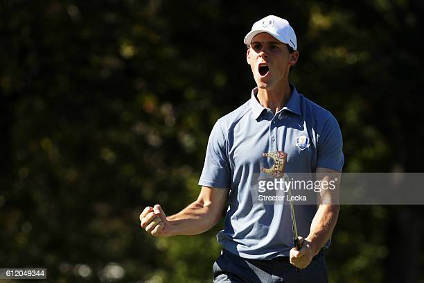 Thomas Pieters of Europe reacts on the 14th green during singles matches of the 2016 Ryder Cup at Hazeltine National Golf Club on October 2, 2016 in...