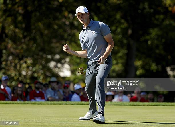 Thomas Pieters of Europe reacts on the 14th green during singles matches of the 2016 Ryder Cup at Hazeltine National Golf Club on October 2 2016 in...
