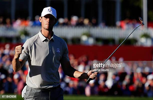 Thomas Pieters of Europe reacts on the 17th green after winning the match during afternoon fourball matches of the 2016 Ryder Cup at Hazeltine...