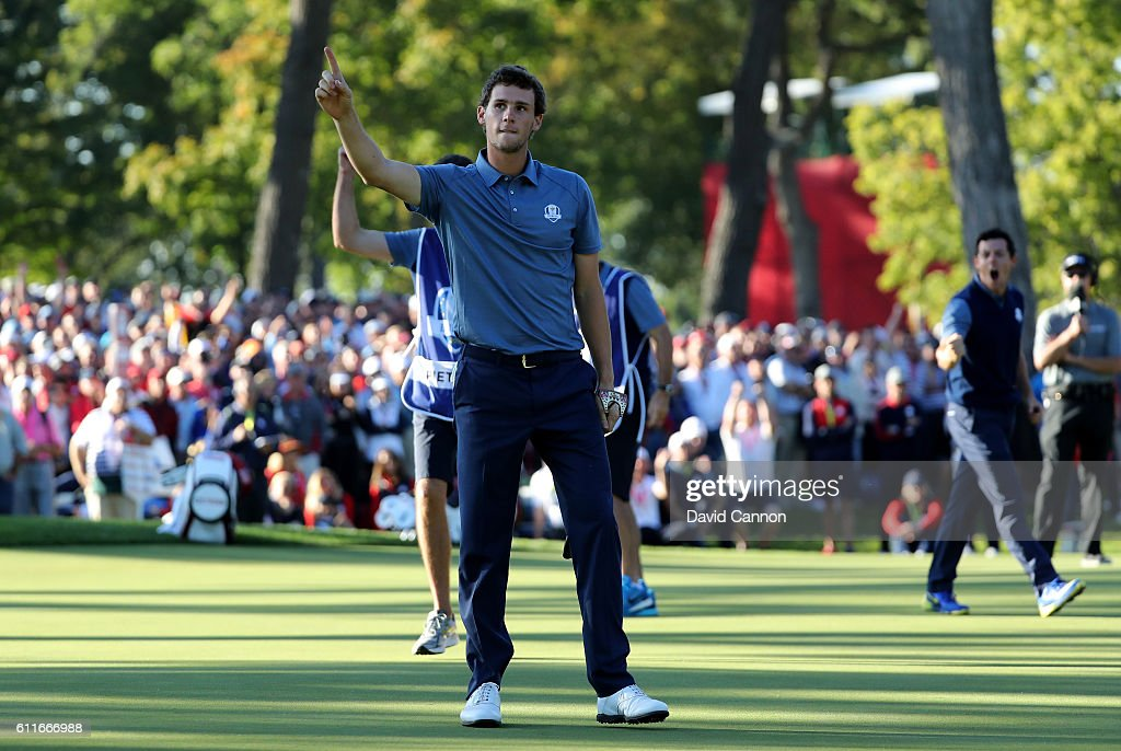 Thomas Pieters of Europe reacts to a putt on the 13th green during afternoon fourball matches of the 2016 Ryder Cup at Hazeltine National Golf Club on September 30, 2016 in Chaska, Minnesota.