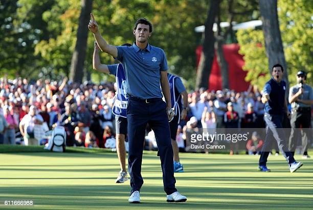 Thomas Pieters of Europe reacts to a putt on the 13th green during afternoon fourball matches of the 2016 Ryder Cup at Hazeltine National Golf Club...