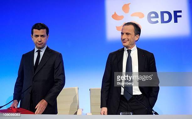 Thomas Piquemal, chief financial officer of Electricite de France SA , left, and Henri Proglio, chief executive officer of Electricite de France SA ,...