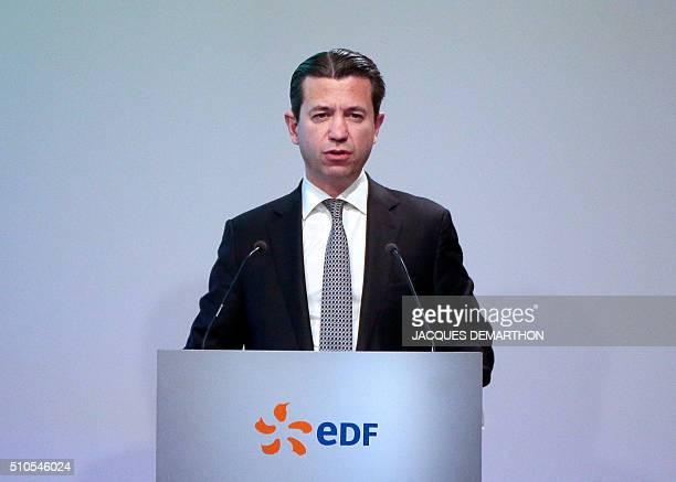 Thomas Piquemal, senior executive vice-president of French state-owned electric utility company EDF Jean-Bernard Levy gives a press conference to...