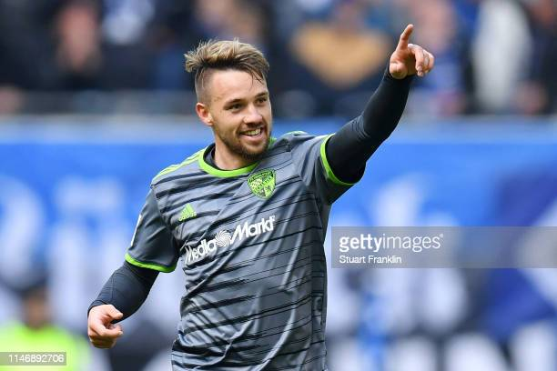 Thomas Pledl of FC Ingolstadt 04 celebrates after scoring his team's second goal during the Second Bundesliga match between Hamburger SV and FC...