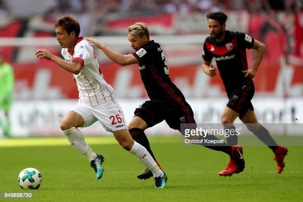 Thomas Pledl of Ingolstadt challenges Genki Haraguchi of Duesseldorf during the Second Bundesliga match between Fortuna Duesseldorf and FC Ingolstadt...