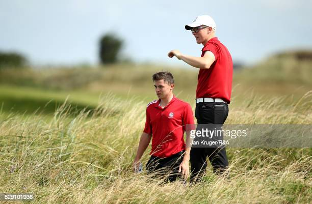 Thomas Plumb of England and partner Alex Fitzpatrick find trouble on the 11th during the morning foursomes in the Boys Home Internationals at St...