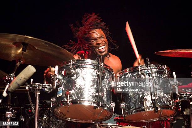 Thomas Pridgen of Mars Volta performs at the Institute Of Contemporary Arts on June 18 2009 in London England