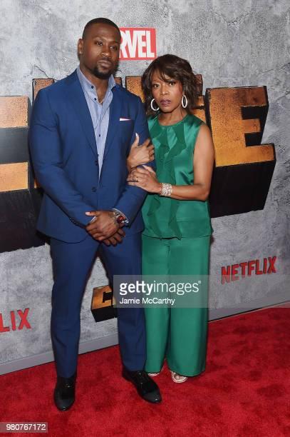 Thomas Q Jones and Alfre Woodard attend the 'Luke Cage' Season 2 premiere at The Edison Ballroom on June 21 2018 in New York City