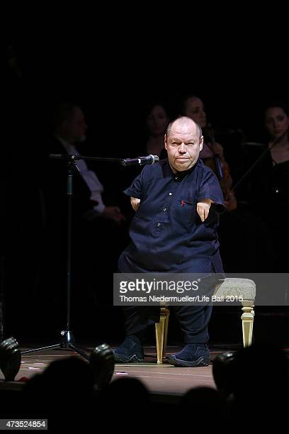 Thomas Quasthoff performs at the Red Ribbon Celebration Concert United in Difference at Burgtheater on May 15 2015 in Vienna Austria