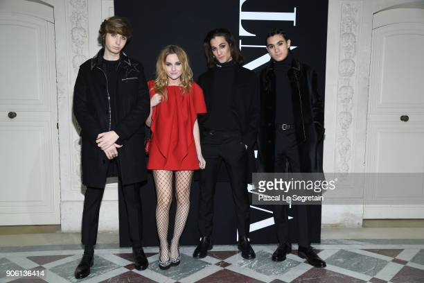 Thomas Raggi Victoria De Angelis Damiano David and Ethan Torchio from Maneskin attend the Valentino Menswear Fall/Winter 20182019 show as part of...