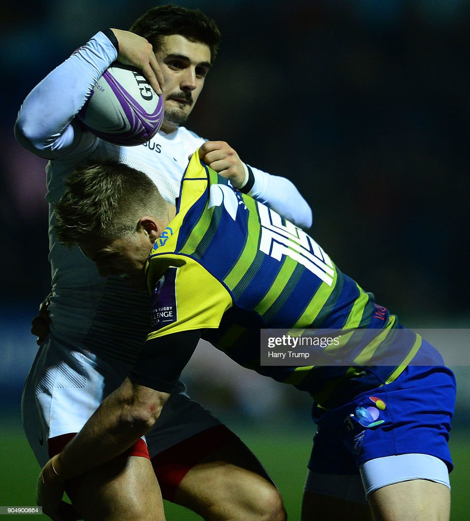 Thomas Ramos of Toulouse is tackled by Gareth Anscombe of Cardiff Blues during the European Rugby Challenge Cup match between Cardiff Blues and Toulouse at Cardiff Arms Park on January 14, 2018 in Cardiff, United Kingdom.