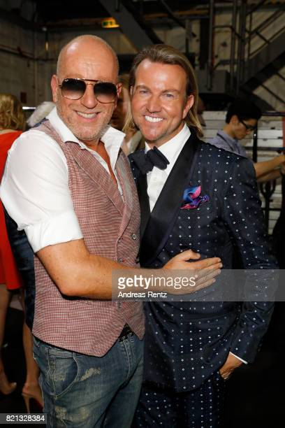 Thomas Rath and his husband Sandro Rath are seen backstage ahead of the Thomas Rath show during Platform Fashion July 2017 at Areal Boehler on July...