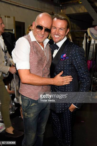 Thomas Rath and his husband Sandro Rath attend the Thomas Rath show during Platform Fashion July 2017 at Areal Boehler on July 23 2017 in Duesseldorf...