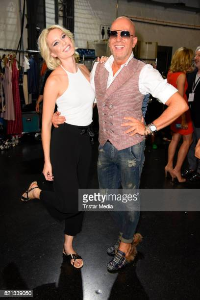 Thomas Rath and Kim Hnizdo attend the Thomas Rath show during Platform Fashion July 2017 at Areal Boehler on July 23 2017 in Duesseldorf Germany