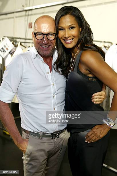 Thomas Rath and Marie Amiere is seen backstage ahead of the Thomas Rath show during Platform Fashion July 2015 at Areal Boehler on July 26 2015 in...