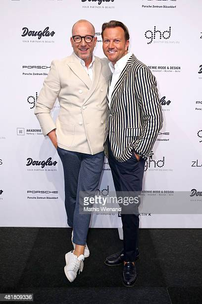 Thomas Rath and Sandro Rath arrive for the AMD Akademie Mode Design Best Graduate Show during Platform Fashion July 2015 at Areal Boehler on July 24...