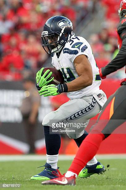 Thomas Rawls of the Seahawks carries the ball during the NFL Game between the Seattle Seahawks and Tampa Bay Buccaneers on November 27 at Raymond...