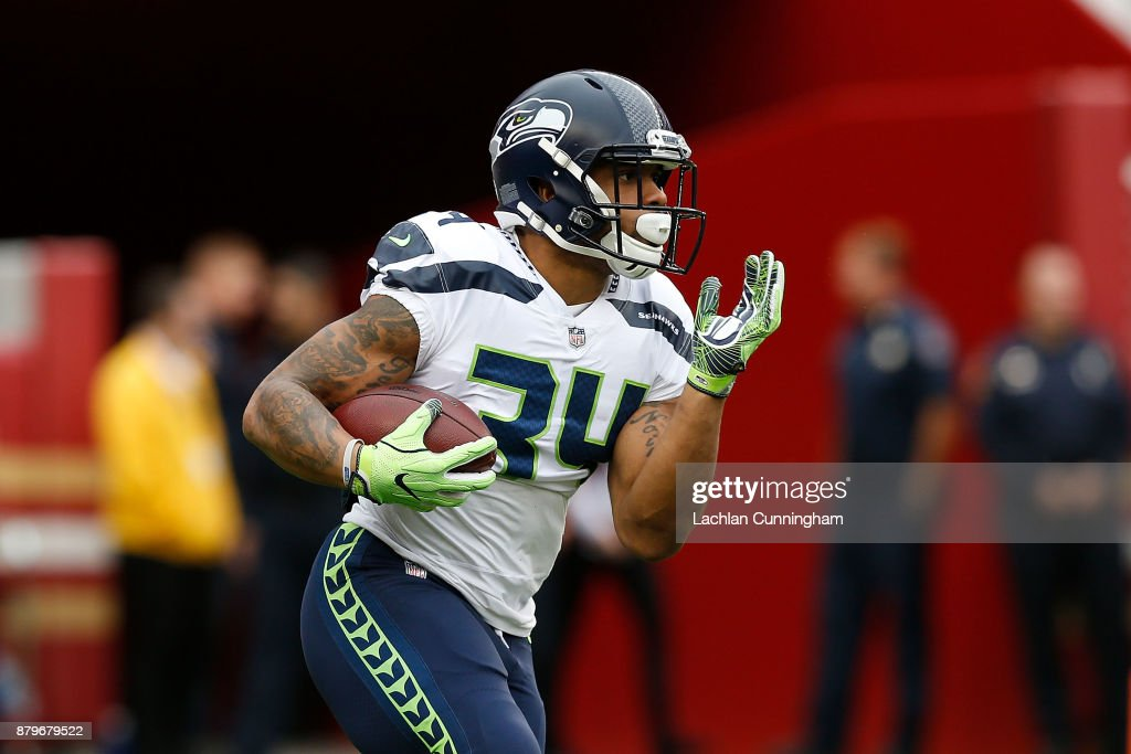 Thomas Rawls #34 of the Seattle Seahawks warms up before the game against the San Francisco 49ers at Levi's Stadium on November 26, 2017 in Santa Clara, California.