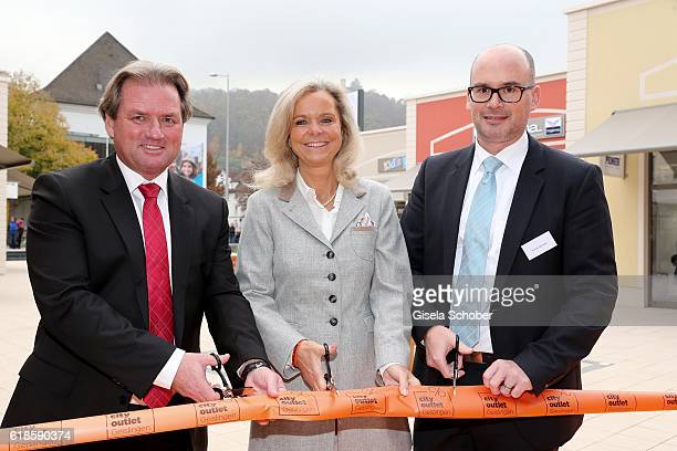 Thomas Reichenauer Managing Director ROS Retail Outlet Shopping Sylvie Mutschler investor and Frank Dehmer Mayor of Geislingen during the opening of...