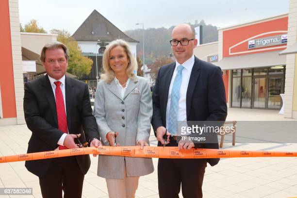 Thomas Reichenauer Sylvi Mutschler and Frank Dehmer attend the opening of the City Outlet Geislingen on October 27 2016 in Geislingen Germany