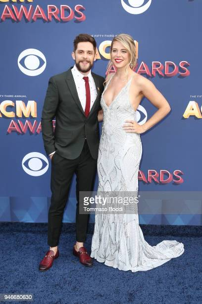 Thomas Rhett and Lauren Akins attend the 53rd Academy of Country Music Awards at MGM Grand Garden Arena on April 15 2018 in Las Vegas Nevada