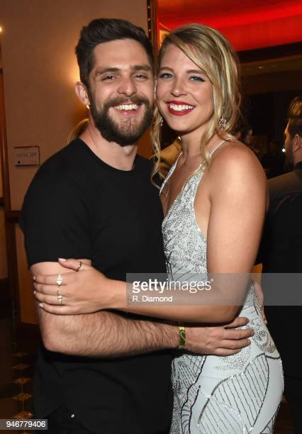 Thomas Rhett and Lauren Akins attend the 53rd Annual ACM Awards celebration with Big Machine Label Group at MGM Grand Hotel Casino on April 15 2018...