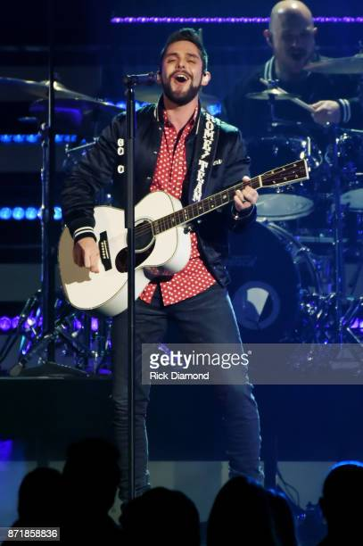 Thomas Rhett performs onstage at the 51st annual CMA Awards at the Bridgestone Arena on November 8 2017 in Nashville Tennessee