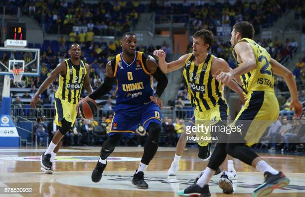 Thomas Robinson #0 of Khimki Moscow in action during the 2017/2018 Turkish Airlines EuroLeague Regular Season game between Fenerbahce Dogus Istanbul...