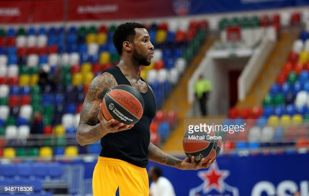 Thomas Robinson #0 of Khimki Moscow Region before the Turkish Airlines Euroleague Play Offs Game 2 between CSKA Moscow v Khimki Moscow Region at...