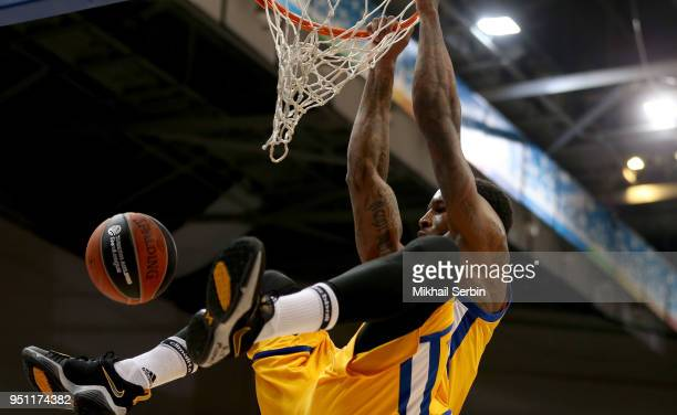 Thomas Robinson #0 of Khimki Moscow Region in action during the Turkish Airlines Euroleague Play Offs Game 3 between Khimki Moscow Region v CSKA...
