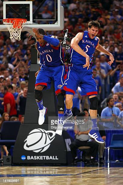 Thomas Robinson and Jeff Withey of the Kansas Jayhawks celebrate after they won 80-67 against the North Carolina Tar Heels during the 2012 NCAA Men's...