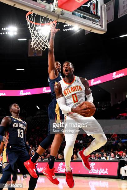 Thomas Robinson of the Atlanta Hawks drives to the basket against the New Orleans Pelicans during a preseason game on October 1 2018 at McCamish...