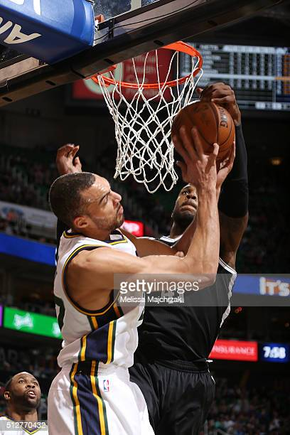 Thomas Robinson of the Brooklyn Nets blocks the shot against Rudy Gobert of the Utah Jazz during the game on February 27 2016 at Vivint Smart Home...