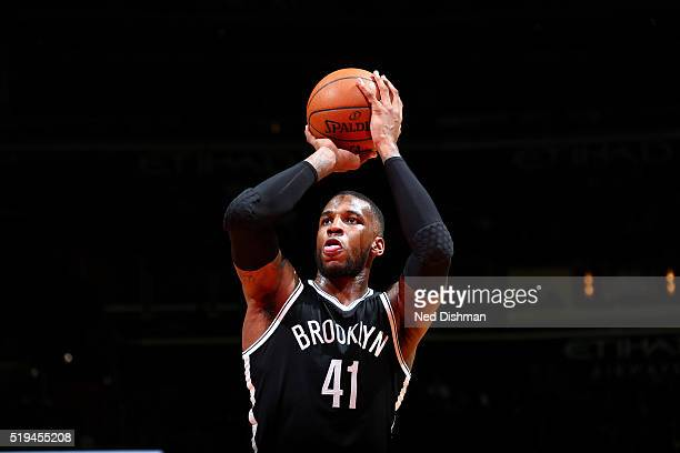 Thomas Robinson of the Brooklyn Nets shoots a free throw during the game against the Washington Wizards on April 6 2016 at Verizon Center in...