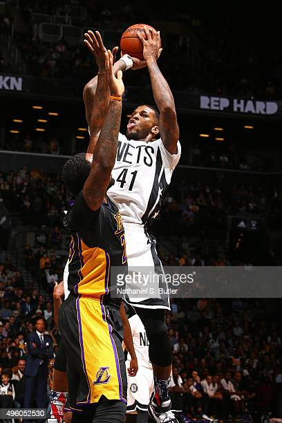 Thomas Robinson of the Brooklyn Nets shoots the ball against the Los Angeles Lakers on November 6 2015 iat Barclays Center in Brooklyn New York NOTE...