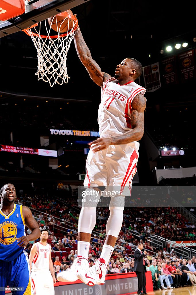 Thomas Robinson #41 of the Houston Rockets dunks against the Golden State Warriors on March 17, 2013 at the Toyota Center in Houston, Texas.