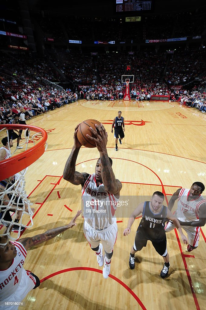 Thomas Robinson #41 of the Houston Rockets goes up for the shot against the Minnesota Timberwolves on March 15, 2013 at the Toyota Center in Houston, Texas.